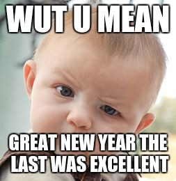 Skeptical Baby Meme | WUT U MEAN GREAT NEW YEAR THE LAST WAS EXCELLENT | image tagged in memes,skeptical baby | made w/ Imgflip meme maker