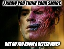 Two Face Knows | I KNOW YOU THINK YOUR SMART. BUT DO YOU KNOW A BETTER WAY? | image tagged in two face knows | made w/ Imgflip meme maker