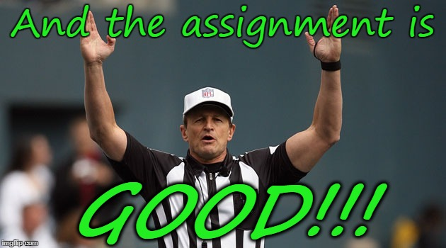 And the assignment is GOOD!!! | image tagged in touchdown ref | made w/ Imgflip meme maker