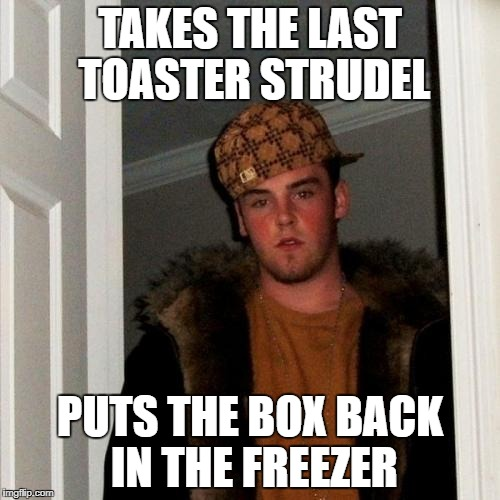 Scumbag Steve Meme | TAKES THE LAST TOASTER STRUDEL PUTS THE BOX BACK IN THE FREEZER | image tagged in memes,scumbag steve | made w/ Imgflip meme maker