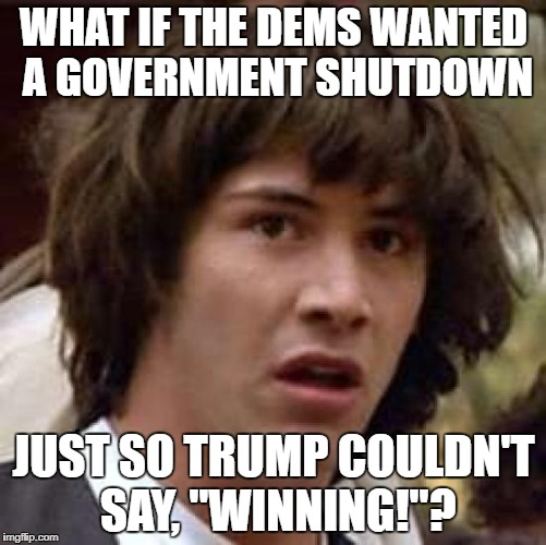 "Shutdown | WHAT IF THE DEMS WANTED A GOVERNMENT SHUTDOWN JUST SO TRUMP COULDN'T SAY, ""WINNING!""? 