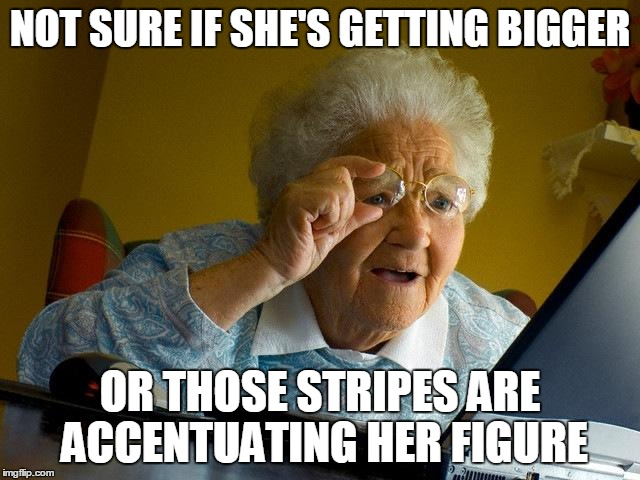 Grandma Finds The Internet Meme | NOT SURE IF SHE'S GETTING BIGGER OR THOSE STRIPES ARE ACCENTUATING HER FIGURE | image tagged in memes,grandma finds the internet | made w/ Imgflip meme maker