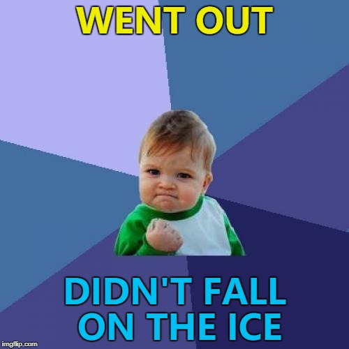 Winter isn't finished yet though :) | WENT OUT DIDN'T FALL ON THE ICE | image tagged in memes,success kid,winter,ice,falling,injuries | made w/ Imgflip meme maker
