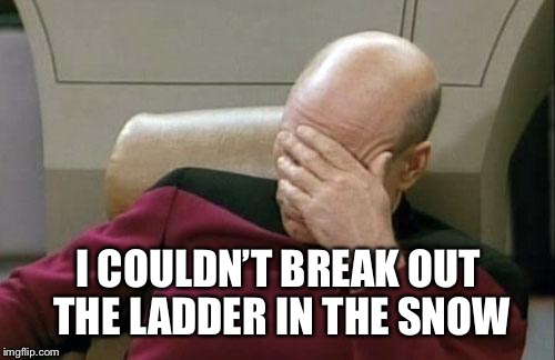 Captain Picard Facepalm Meme | I COULDN'T BREAK OUT THE LADDER IN THE SNOW | image tagged in memes,captain picard facepalm | made w/ Imgflip meme maker