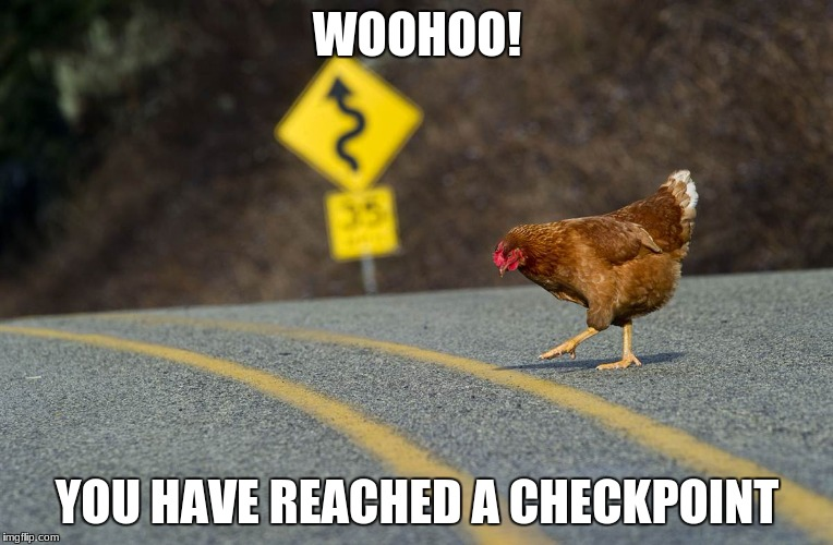chicken platformer | WOOHOO! YOU HAVE REACHED A CHECKPOINT | image tagged in gaming,chicken,road | made w/ Imgflip meme maker