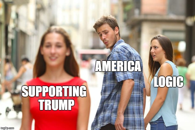 Distracted American | SUPPORTING  TRUMP AMERICA LOGIC | image tagged in memes,distracted boyfriend,trump supporters,political meme,politics | made w/ Imgflip meme maker