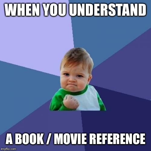 Success Kid Meme | WHEN YOU UNDERSTAND A BOOK / MOVIE REFERENCE | image tagged in memes,success kid | made w/ Imgflip meme maker