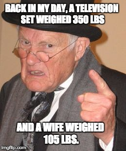 Back in My Day Mirror Image |  BACK IN MY DAY, A TELEVISION SET WEIGHED 350 LBS; AND A WIFE WEIGHED 105 LBS. | image tagged in back in my day mirror image | made w/ Imgflip meme maker