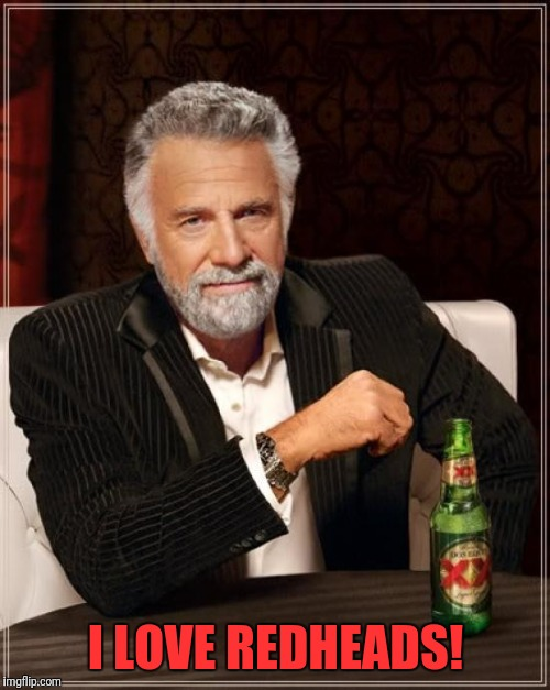 The Most Interesting Man In The World Meme | I LOVE REDHEADS! | image tagged in memes,the most interesting man in the world | made w/ Imgflip meme maker