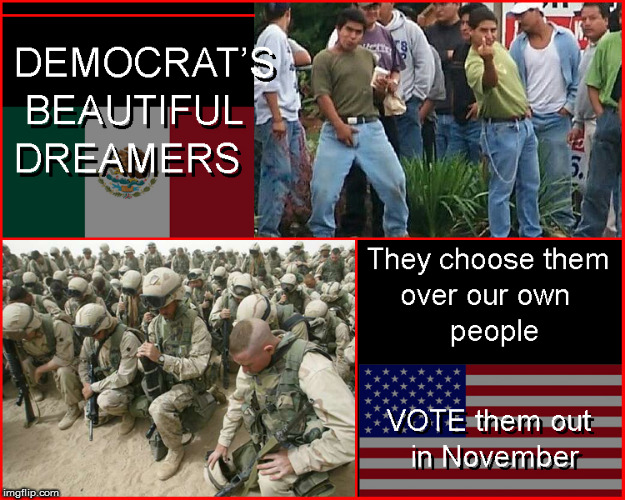Democrats beautiful dreamers | image tagged in build a wall,politics lol,current events,daca,front page,support our veterans | made w/ Imgflip meme maker