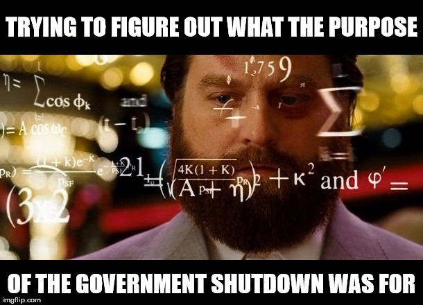 Congressional Logic | TRYING TO FIGURE OUT WHAT THE PURPOSE OF THE GOVERNMENT SHUTDOWN WAS FOR | image tagged in calculator alan,memes,congress,logic,government shutdown | made w/ Imgflip meme maker
