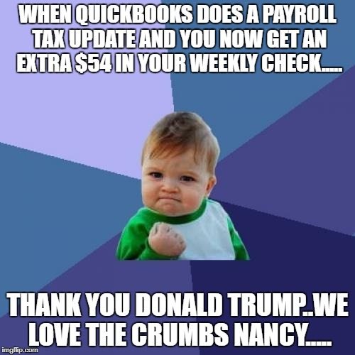 Tax Cuts Baby | WHEN QUICKBOOKS DOES A PAYROLL TAX UPDATE AND YOU NOW GET AN EXTRA $54 IN YOUR WEEKLY CHECK..... THANK YOU DONALD TRUMP..WE LOVE THE CRUMBS  | image tagged in memes,success kid,tax cuts,donald trump | made w/ Imgflip meme maker