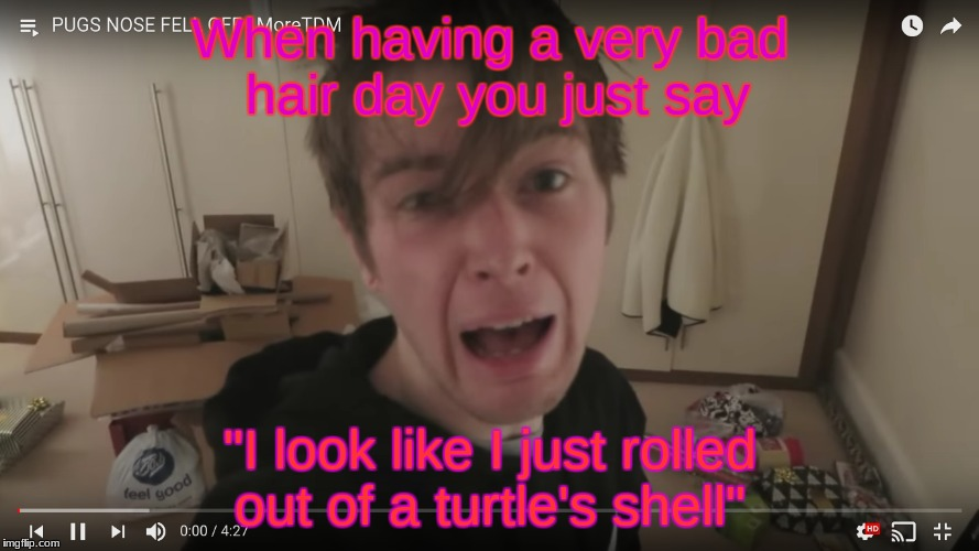 "rolling out of your bed | When having a very bad hair day you just say ""I look like I just rolled out of a turtle's shell"" 