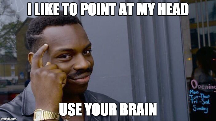 Roll Safe Think About It Meme | I LIKE TO POINT AT MY HEAD USE YOUR BRAIN | image tagged in memes,roll safe think about it | made w/ Imgflip meme maker