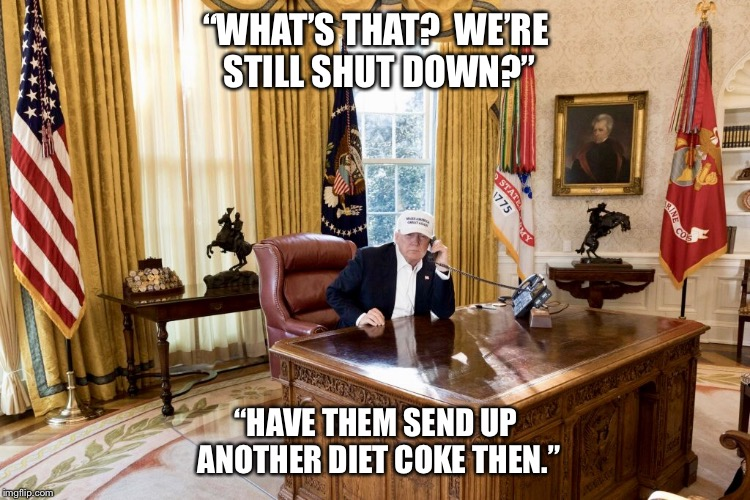 "Who was really on tbe other end of that phone? | ""WHAT'S THAT?  WE'RE STILL SHUT DOWN?"" ""HAVE THEM SEND UP ANOTHER DIET COKE THEN."" 