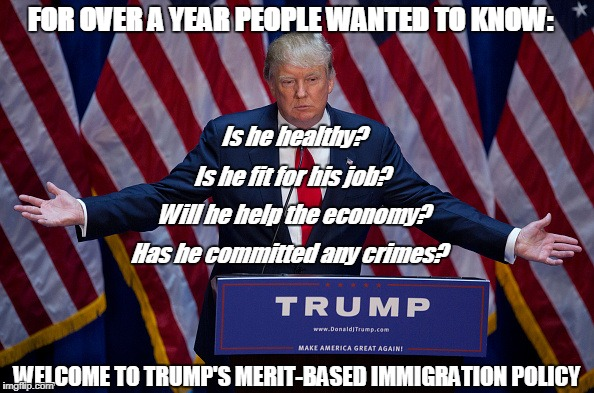 Trump Bruh | FOR OVER A YEAR PEOPLE WANTED TO KNOW: WELCOME TO TRUMP'S MERIT-BASED IMMIGRATION POLICY Is he healthy? Is he fit for his job? Will he help  | image tagged in trump bruh | made w/ Imgflip meme maker