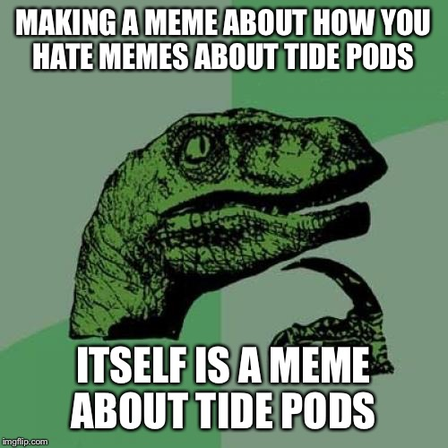 Philosoraptor Meme | MAKING A MEME ABOUT HOW YOU HATE MEMES ABOUT TIDE PODS ITSELF IS A MEME ABOUT TIDE PODS | image tagged in memes,philosoraptor | made w/ Imgflip meme maker