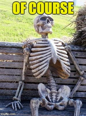 Waiting Skeleton Meme | OF COURSE | image tagged in memes,waiting skeleton | made w/ Imgflip meme maker
