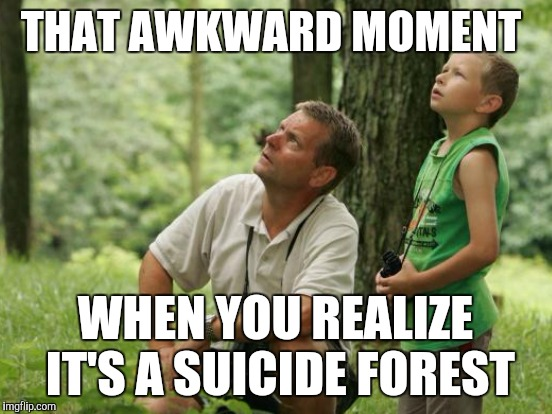 THAT AWKWARD MOMENT WHEN YOU REALIZE IT'S A SUICIDE FOREST | image tagged in father and son | made w/ Imgflip meme maker