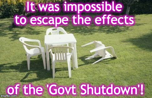 It was impossible to escape the effects of the 'Govt Shutdown'! | image tagged in government shutdown | made w/ Imgflip meme maker