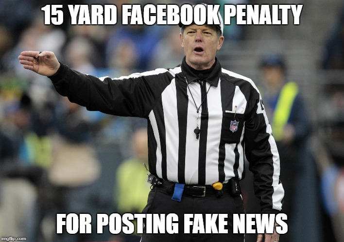 15 YARD FACEBOOK PENALTY FOR POSTING FAKE NEWS | image tagged in fake news,penalty | made w/ Imgflip meme maker