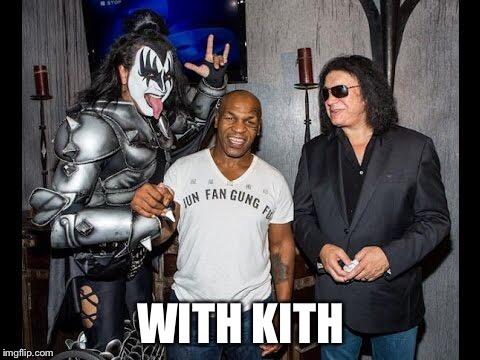 Kiss Tyson  | WITH KITH | image tagged in kiss,mike tyson,tyson,backstage,concert | made w/ Imgflip meme maker