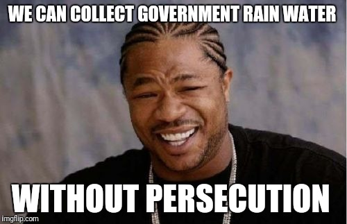 Yo Dawg Heard You Meme | WE CAN COLLECT GOVERNMENT RAIN WATER WITHOUT PERSECUTION | image tagged in memes,yo dawg heard you | made w/ Imgflip meme maker