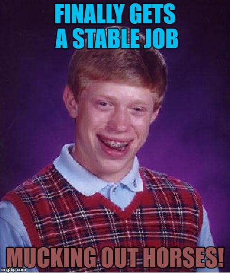 Bad Luck Brian Meme | FINALLY GETS A STABLE JOB MUCKING OUT HORSES! | image tagged in memes,bad luck brian | made w/ Imgflip meme maker