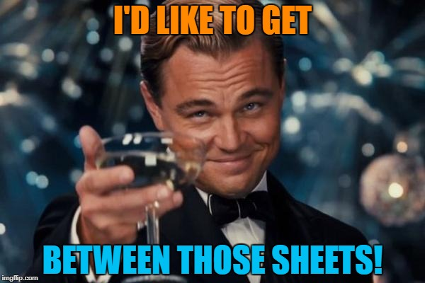Leonardo Dicaprio Cheers Meme | I'D LIKE TO GET BETWEEN THOSE SHEETS! | image tagged in memes,leonardo dicaprio cheers | made w/ Imgflip meme maker