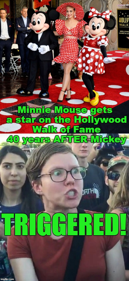 Minnie probably doesn't get paid as much as Mickey, either! | Minnie Mouse gets a star on the Hollywood Walk of Fame 40 years AFTER Mickey TRIGGERED! | image tagged in minnie,mickey mouse,disney,triggered feminist,hollywood,pay | made w/ Imgflip meme maker