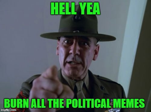 sarge  | HELL YEA BURN ALL THE POLITICAL MEMES | image tagged in sarge | made w/ Imgflip meme maker