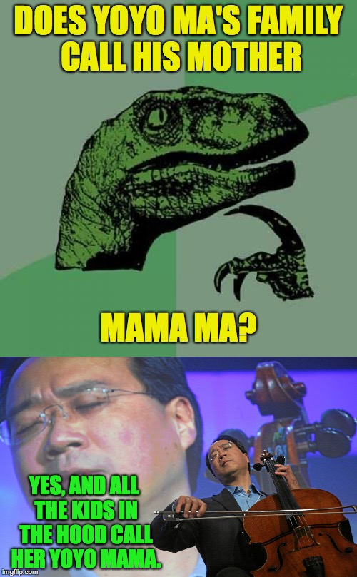 Mama Ma. | DOES YOYO MA'S FAMILY CALL HIS MOTHER YES, AND ALL THE KIDS IN THE HOOD CALL HER YOYO MAMA. MAMA MA? | image tagged in memes,yoyo ma,philosoraptor | made w/ Imgflip meme maker