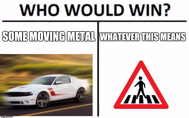 Who Would Win? Meme | SOME MOVING METAL WHATEVER THIS MEANS | image tagged in memes,who would win | made w/ Imgflip meme maker
