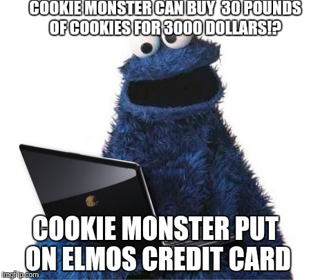 cookie monster computer | COOKIE MONSTER CAN BUY  30 POUNDS OF COOKIES FOR 3000 DOLLARS!? COOKIE MONSTER PUT ON ELMOS CREDIT CARD | image tagged in cookie monster computer | made w/ Imgflip meme maker