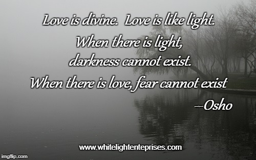 Love is... | Love is divine.  Love is like light. When there is light, darkness cannot exist. When there is love, fear cannot exist --Osho www.whitelight | image tagged in osho,divine,light,meditation,philosophy,no fear | made w/ Imgflip meme maker