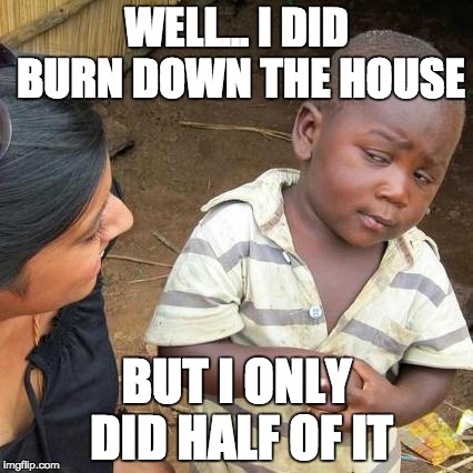 Third World Skeptical Kid Meme | WELL... I DID BURN DOWN THE HOUSE BUT I ONLY DID HALF OF IT | image tagged in memes,third world skeptical kid | made w/ Imgflip meme maker