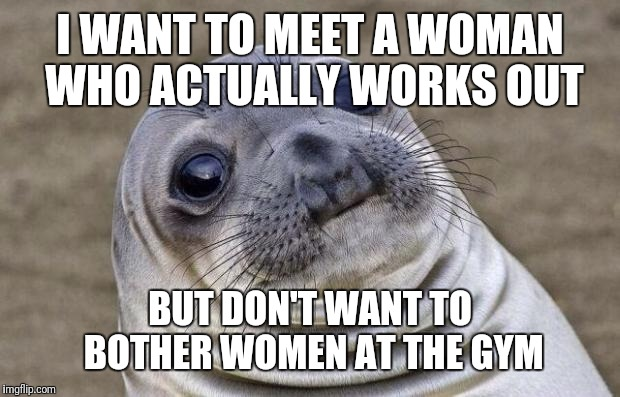 Awkward Moment Sealion Meme | I WANT TO MEET A WOMAN WHO ACTUALLY WORKS OUT BUT DON'T WANT TO BOTHER WOMEN AT THE GYM | image tagged in memes,awkward moment sealion | made w/ Imgflip meme maker