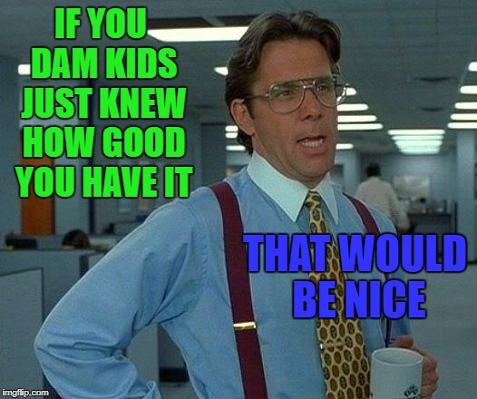 That Would Be Great Meme | IF YOU DAM KIDS JUST KNEW HOW GOOD YOU HAVE IT THAT WOULD BE NICE | image tagged in memes,that would be great | made w/ Imgflip meme maker