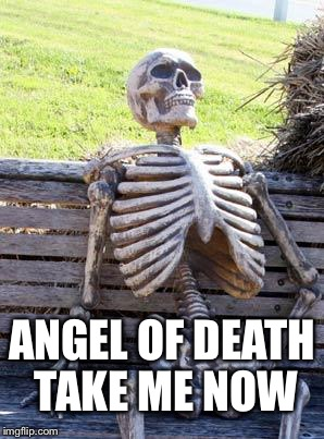 Waiting Skeleton Meme | ANGEL OF DEATH TAKE ME NOW | image tagged in memes,waiting skeleton | made w/ Imgflip meme maker