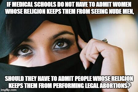 IF MEDICAL SCHOOLS DO NOT HAVE TO ADMIT WOMEN WHOSE RELIGION KEEPS THEM FROM SEEING NUDE MEN, SHOULD THEY HAVE TO ADMIT PEOPLE WHOSE RELIGIO | image tagged in muslim woman | made w/ Imgflip meme maker