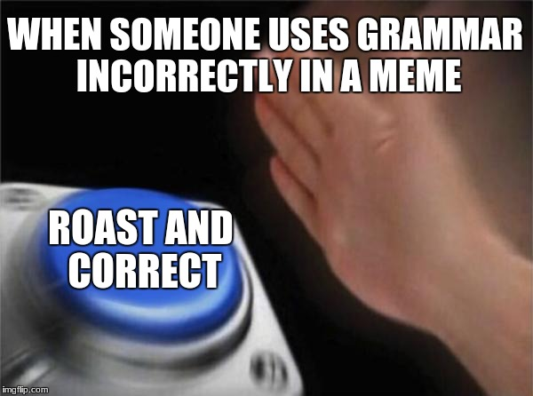 I'm Sorry To Anyone I've Done This  Too | WHEN SOMEONE USES GRAMMAR INCORRECTLY IN A MEME ROAST AND CORRECT | image tagged in memes,blank nut button,grammar,roasted,ended | made w/ Imgflip meme maker