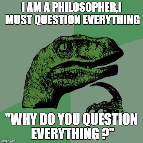 "Philosoraptor Meme | I AM A PHILOSOPHER,I MUST QUESTION EVERYTHING ""WHY DO YOU QUESTION EVERYTHING ?"" 