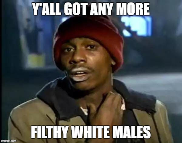 Y'all Got Any More Of That Meme | Y'ALL GOT ANY MORE FILTHY WHITE MALES | image tagged in memes,y'all got any more of that | made w/ Imgflip meme maker