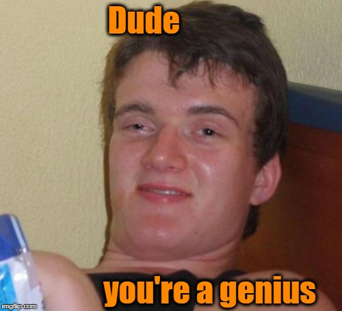 10 Guy Meme | Dude you're a genius | image tagged in memes,10 guy | made w/ Imgflip meme maker