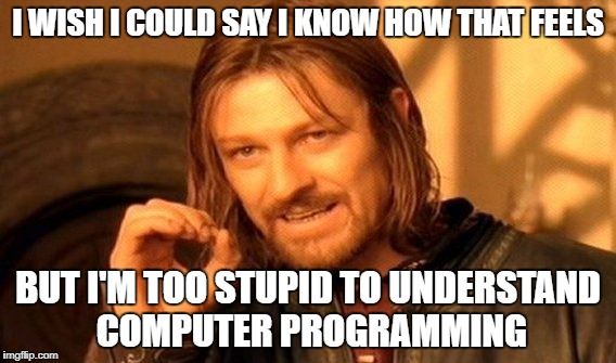One Does Not Simply Meme | I WISH I COULD SAY I KNOW HOW THAT FEELS BUT I'M TOO STUPID TO UNDERSTAND COMPUTER PROGRAMMING | image tagged in memes,one does not simply | made w/ Imgflip meme maker