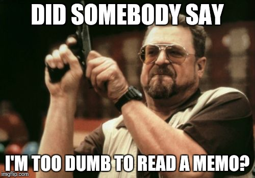 Am I The Only One Around Here Meme | DID SOMEBODY SAY I'M TOO DUMB TO READ A MEMO? | image tagged in memes,am i the only one around here | made w/ Imgflip meme maker