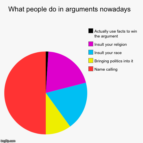 What people do in arguments nowadays  | Name calling , Bringing politics into it, Insult your race, Insult your religion , Actually use fact | image tagged in funny,pie charts | made w/ Imgflip pie chart maker