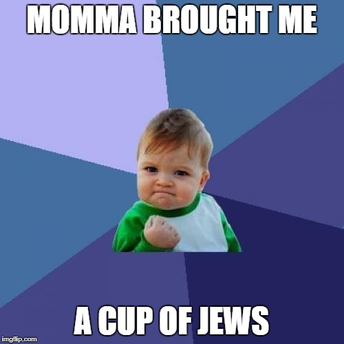 Success Kid Meme | MOMMA BROUGHT ME A CUP OF JEWS | image tagged in memes,success kid | made w/ Imgflip meme maker