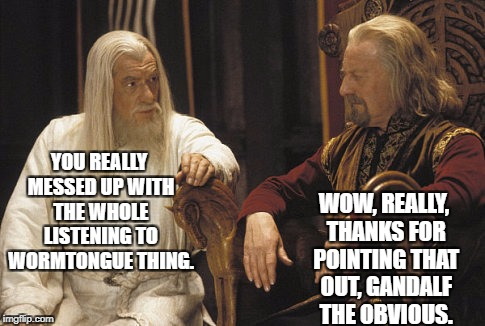 Gandalf the Obvious | YOU REALLY MESSED UP WITH THE WHOLE LISTENING TO WORMTONGUE THING. WOW, REALLY, THANKS FOR POINTING THAT OUT, GANDALF THE OBVIOUS. | image tagged in gandalf and theoden,lotr,theoden,gandalf,obvious,wormtongue | made w/ Imgflip meme maker