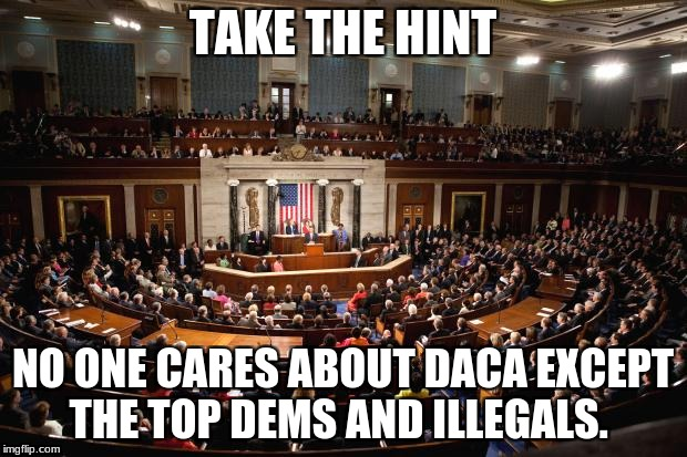 Congress | TAKE THE HINT NO ONE CARES ABOUT DACA EXCEPT THE TOP DEMS AND ILLEGALS. | image tagged in congress | made w/ Imgflip meme maker